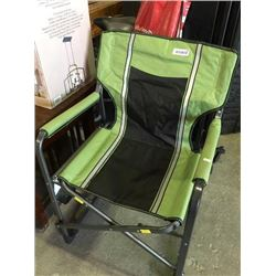 green folding camping chair with tray.