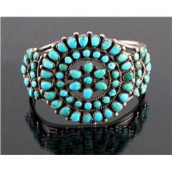 Navajo Sterling Silver Turquoise Petit Point Cuff