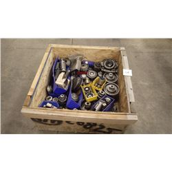 Crate of Tooling And Parts As Pictured. View Monday and Tuesday From 1:00 to 3:00 at 1502D Quebec Av