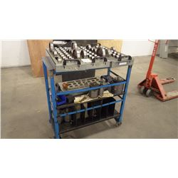 Heavey Duty Work Cart On Casters with With All Tooling And Parts As Pictured. View Monday and Tuesda