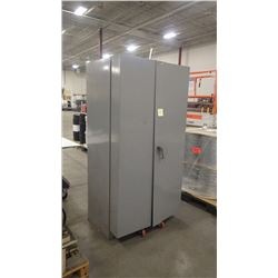 Double Door Steel Cabinet With All Parts As Pictured. View Monday and Tuesday From 1:00 to 3:00 at 1