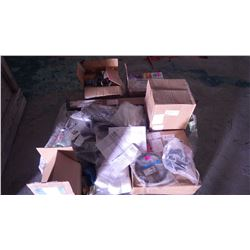 PALLET OF MISC FORD TRUCK PARTS, NEW FRONT HUBS, P.S. GEAR BOX, SHOCK ABSORBERS