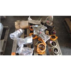 PALLET OF MISC PIPE CLAMPS, HYD PLANETARY DRIVE PLUS MIS SANDVIK PARTS