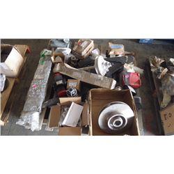 PALLET OF PUMP IMPELLARS, SHAFTS, BUSHINGS, CHECK VALVE SERIES 717, DODGE HUBS, ETC