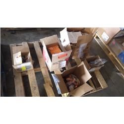 PALLET OF MISC COPPER, BRASS BUSHINGS, FITTINGS AND REPLACEMENT HEADLIGHTS