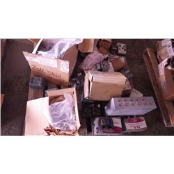 PALLET OF NEW AND USED ELEC BREAKERS, AMPLIFIERS, ETC AND FORD WATER PUMP PLUS MANUFLO ELECTRO MAGNE