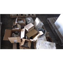 """PALLET OF 2 TEMP CONTROL SWITCHES, 2 CRANE REMOTE CONTROLS BOX APPROX 25 - 7"""" WALTER GRINDING DISCS,"""