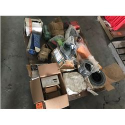 PALLET OF WELDING WIRE, YUKAW HYD CONTROL, MISC BOLTS, APPROX 25 WAKTER GRINDING DISCS, LINCOLN WATE