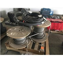 PALLET W/ 2 PARTIAL FLEXIBLE CONDUIT ROLL OF 1000 V #4, 3 CONDUCTOR WIRING AND MISC. PIECES