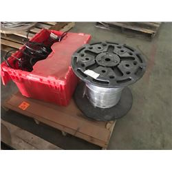 PALLET OF SPOOL WIRE CABLE AND BOX OF RUBBER SEALING RINGS