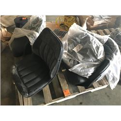 PALLET WITH 3 IMPLEMENT SEATS AND MISC SEAT COVERS