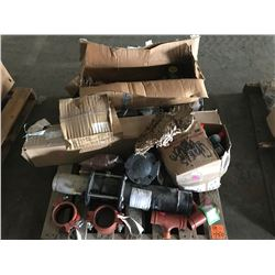 PALLET WITH EXPANSION JOINT, NIBCO CHECK VALVE, BOX OF CHAIN LUBE, BRAKE SHOES, ECR COOLER, ETC.