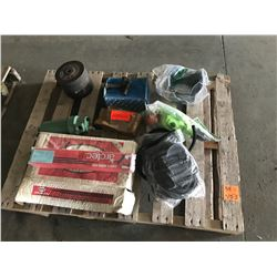 PALLET OF ARCTEC WELDING RODS, GRINDER DISCS, LINCOLN WATER SEPERATOR, MISC BOLTS, ETC