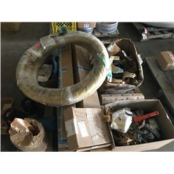 PALLET WITH FLYGT AND SANDVIK PUMP PARTS INCLUDING STATOR MOTOR FOR 15HP FLYGHT PUMP, IMPELLOR PARTS