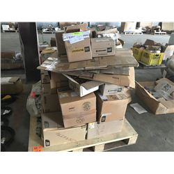 PALLET WITH CATERPILLAR FILTERS, PARTS, ALTERNATOR WATER PUMP, HOSES, CABLES, ETC.