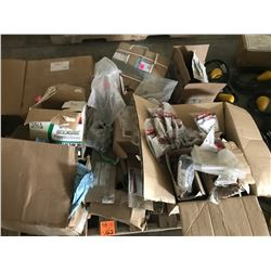PALLET OF  MISC FORD PARTS, INCLUDES BRAKE ROTORS, STEERING BOX, SPARK PLUGS, SEALS, BOLTS, ETC