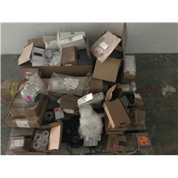 PALLET OF ELECTRICAL PARTS PLUS TECIS LOAD WEIGHT SYSTEMS, DRIVE SHAFT FOR HEAVY EQUIPMENTS, ETC