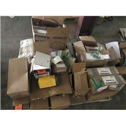 PALLET OF J.D. FILTERS AND PARTS, ALTERNATOR CABLES, BEARINGS, ETC