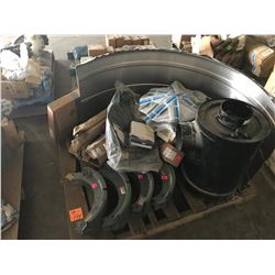 PALLET OF LARGE EQUIPMENT PARTS, FILTERS, BRAKE SHOES, AIR FILTER ASSEMBLY, FENDER, ETC