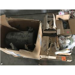 PALLET WITH AIR FILTER ASSEMBLY, 3 DETROIT DIESEL CRANK CASE BREATHERS, BOLTS, BEARINGS, SEALS, ETC