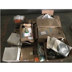 PALLET WITH FLYGT AND SANDVIK PUMP PARTS, THERMINAL BOARDS, SEALS, STATOR FOR 20HP FLYGT PUMP, ETC.