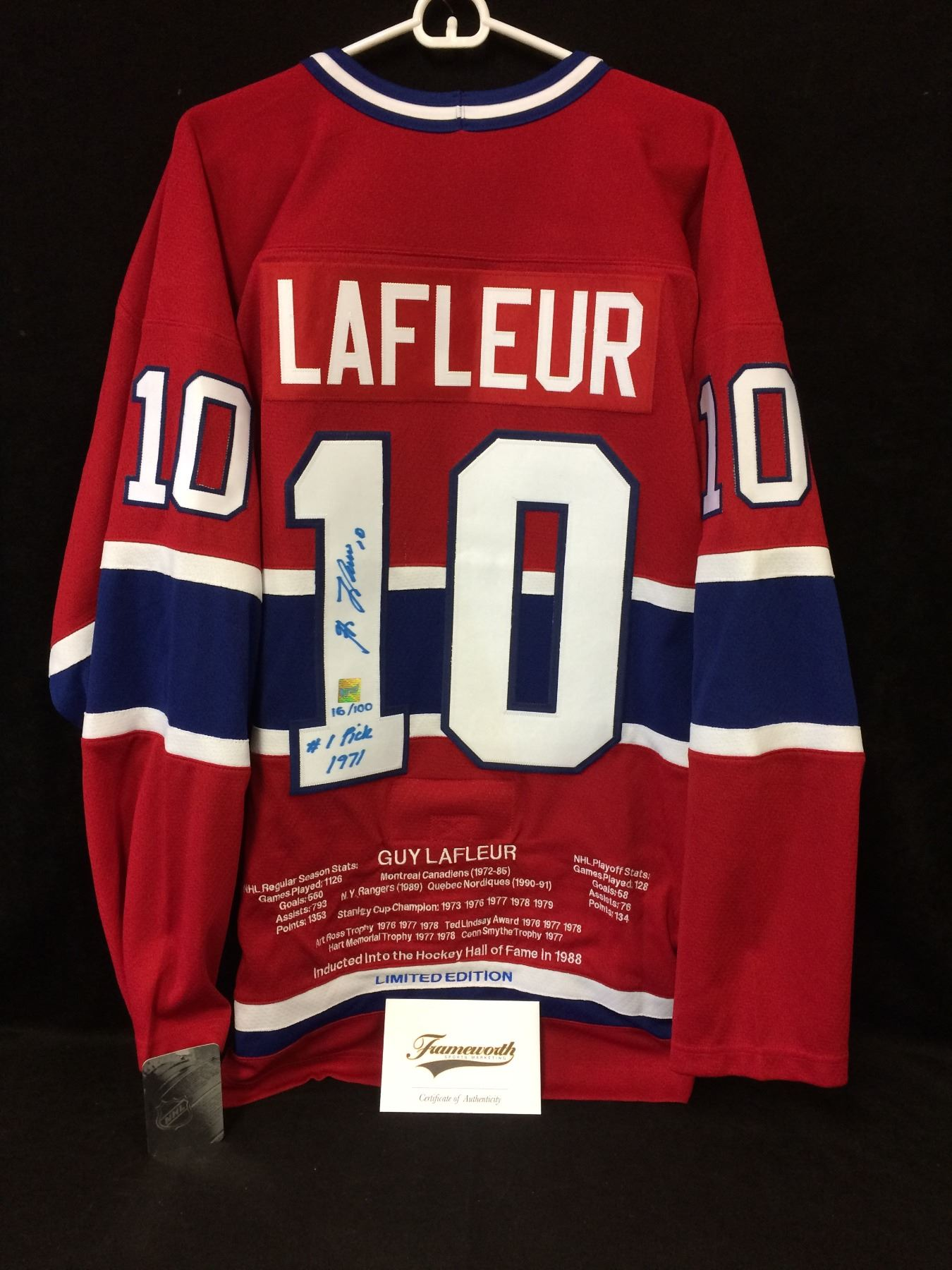 brand new 8cf00 97629 LIMITED EDITION GUY LAFLEUR SIGNED CANADIENS STATS HOCKEY JERSEY w/  FRAMEWORTH COA (16/100)