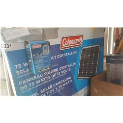 COLEMAN 75 WATT SOLAR PANEL AND SOLAR CHARGE CONTROLLER
