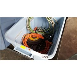 TOTE OF DRILL BITS AND 2 EXTENTION CORDS