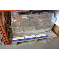 SKID OF ASSORTED POOL STAIR TREAD TILES, AND GERMAN GAIL EXTRUDED BROWN TILES, ENTIRE PALLET