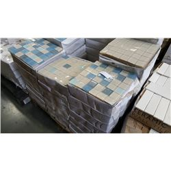 30 BOXES, NEW MODERN BLUE/BEIGE MOSAIC WALL/BACKSPLASH TILE 12 INCH BY 12 INCH 10PC/BOX
