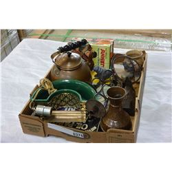 TRAY OF METALWARE AND VINTAGE ITEMS