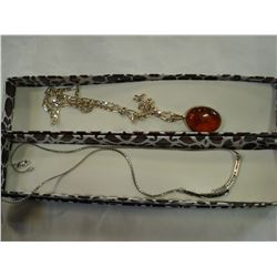 STERLING CHAIN PENDANT AND AMBER STERLING PENDANT