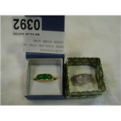 MENS STERLING RING BAND AND GREEN STONE RING