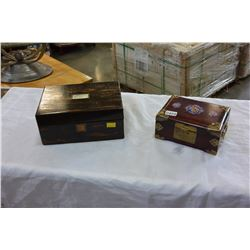 TWO JEWELERY BOXES WITH CONTENTS
