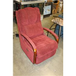 RED LAZYBOY UPHOLSTERED BENTWOOD ELECTRIC RECLINER