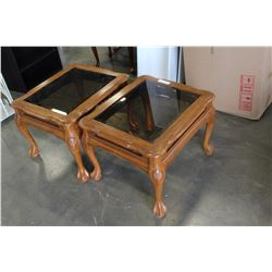 PAIR OF OAK GLASS TOP END TABLES