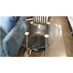ROUND MODERN 2 TIER GLASSTOP ENDTABLE