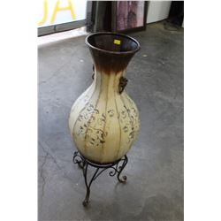 METAL VASE AND STAND