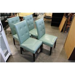 4 GREEN LEATHER CHAIRS