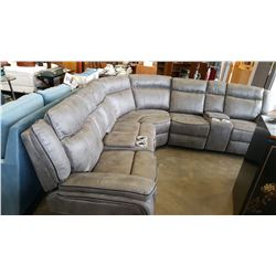 NEW GREY PALOMINO SECTIONAL SOFA WITH POWER AND CONSOLES