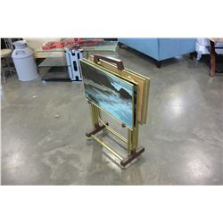VINTAGE TV TRAY SET ON ROLLING STAND