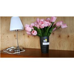 TABLE LAMP AND ARTIFICIAL FLOWERS