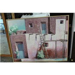 LARGE FRAMED PAINTING ON CANVAS