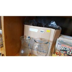 BOX OF GLASS VASES