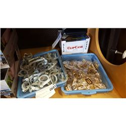 TRAY OF WHISTLER KEY CHAINS SWIMM GOGGLES AND SUNGLASS CLIP CASES