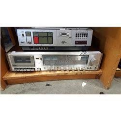 HITACHI STEREO CASSETTE RECORDER ST9600 AND JVC VIDEO RECORDER