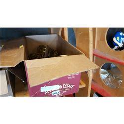 BOX OF BRASS DECORATIONS