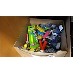 BOX OF PEZ DISPENSERS AND TOYS