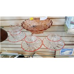 DEPRESSION GLASS BOWL AND DURALEX TEACUPS AND SAUCERS
