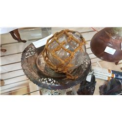 GLASS FISHING FLOAT AND SILVER PLATE AND LEATHER CAMEL